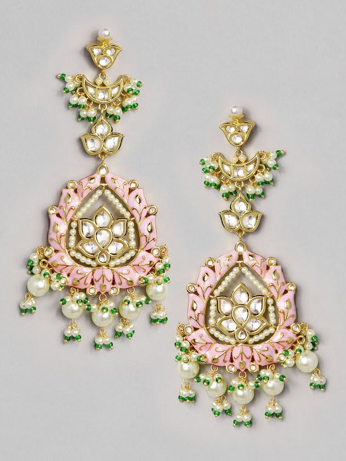 Rubans 22K Gold Plated Handcrafted Pink Enamel with Pearl Drop Earrings