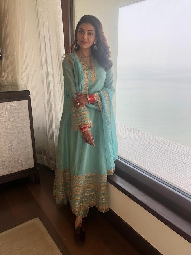 Kajal Aggarwal spotted wearing designer Rimple & Harpreet Narula for her Grihapravesh Puja!