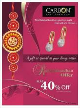 This Rakshabandhan. give gift to your loving sister, that she will treasure with her forever... Rakshabandhan offer - Flat 40% off on selected products at Carbon Fine Jewellery